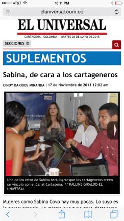 Sabina Covo El Universal Canal Cartagena